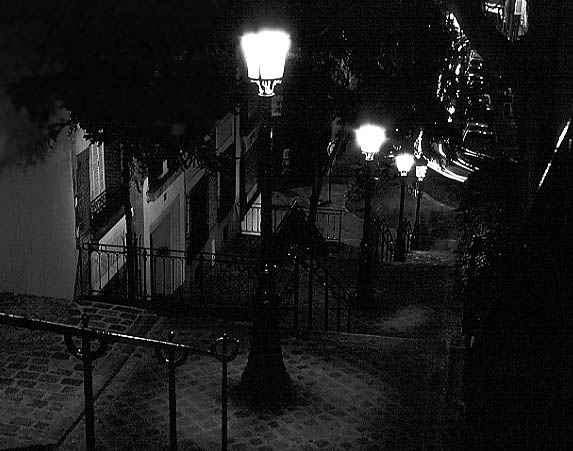 Paris photos in black and white at night - Montmartre - Stairs