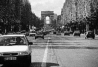 Paris black and white photos - Champs Elysées as seen from the Place de la Concorde
