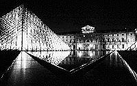 Black and white photo Paris - Louvre and Pyramid - night view